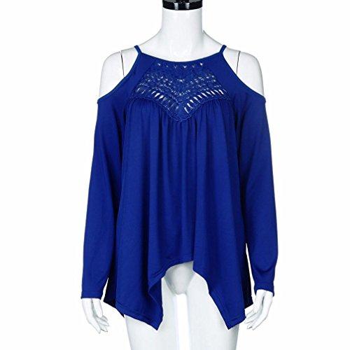 Lunghe Top Moda Blu Clubwear a Senza Donna Vestito Sexy Blusa Manica Autunno Maniche Lunga Spalline LQQSTORE Casuale R61qnZwXW1