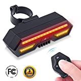 Cheap Rechargeable Bike Tail Light LED – Remote Control, USB Charging, Turning Lights, Wireless, Waterproof, Easy Installation with 3 Light Modes for Bicycle Safety Warning Rear Lights (Bike Rear Light)