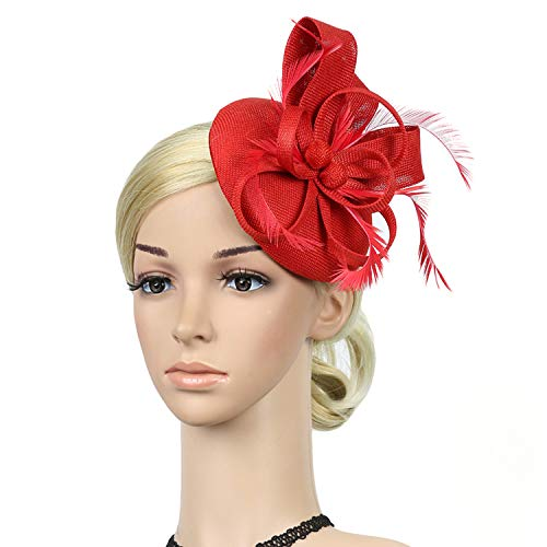 DRESHOW Fascinator Hat Cocktail Tea Party Hat Feather Ribbon Bow Pillbox Hat with Hair Clip and Headband for Women and Girls]()