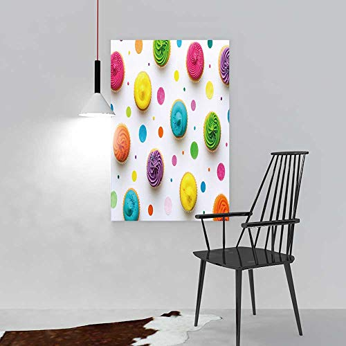 Color Wall Art Painting Frameless Colorful Cupcakes on a White Background Hotel Office Decor Gift Piece W44 x H64