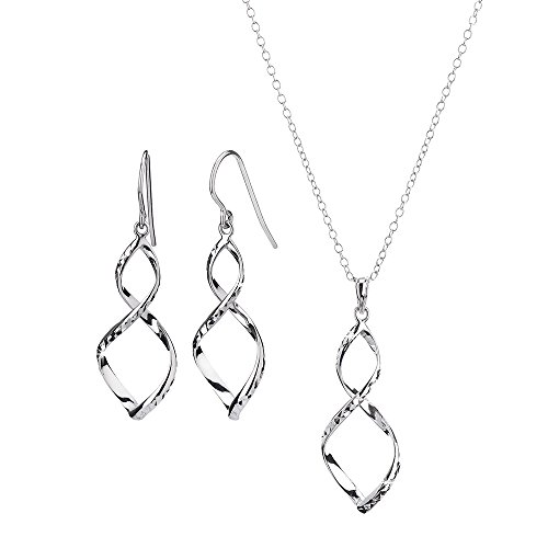 G&H Sterling Silver Figure 8 with Diamond Cut Drop Earrings and Pendant Necklace (Diamond Cut Figure)