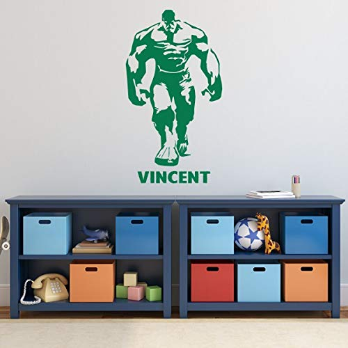 Custom Name Incredible Hulk Wall Decal for Boy's Bedroom, Playroom | Personalized Superhero Silhouette | Vinyl Decor Sticker | Kids Birthday Party Decorations | Small, Large Sizes