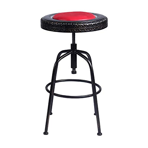 ZQZ Simple Dining Chair American Retro Bar Chair Rotating Lift Stool Wrought Iron Personality Dining Chair Dinette (#) (Color : A)