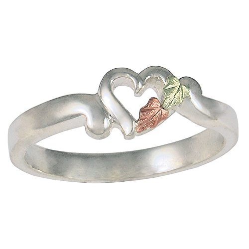 Womens Black Hills Gold Heart Ring with 12k Gold Leaf Accents
