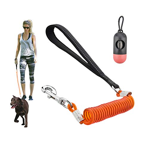 SZELAM Chew-Proof Dog Leash Non Chewable Dog Training Tether 59 Inch Wire Dog Leash with Anti-Shock Bungee and Soft Padded - Dog Chews Leash