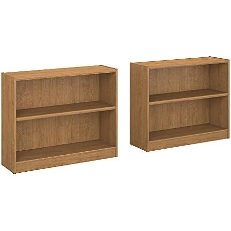 Universal 2 Shelf Bookcase Set Of 2 In Snow Maple