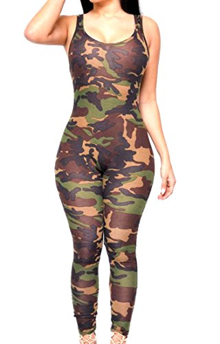 YUNY Womens Sexy Camo Print Backless Yoga Sports Summer Jumpsuit camoufiage L (Sexy Camo Outfits)