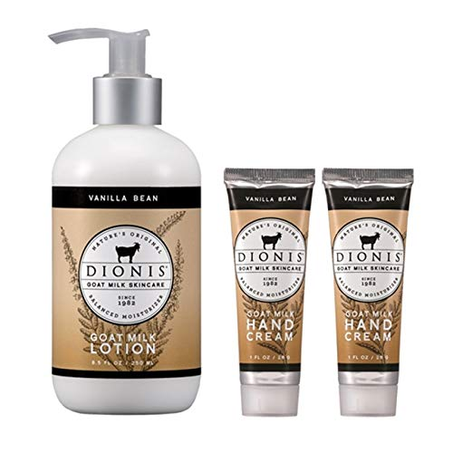 (Dionis Goat Milk Body Lotion and Hand Cream Gift Set (Vanilla Bean, 3 Piece))