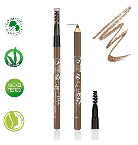 PuroBIO Certified Organic Multitasking Eye and Eyebrow Pencil with Brush - no 27 Amber for Light to Medium Skin Tones. Contains Plant Oils and Vitamin E. ORGANIC. MADE IN ITALY