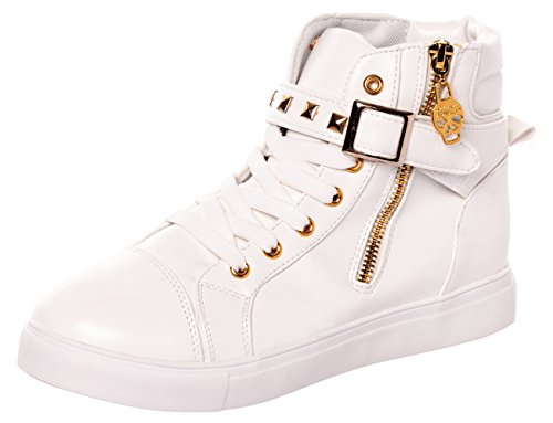 Women's Canvas All White Lace Sneakers (White) - 4