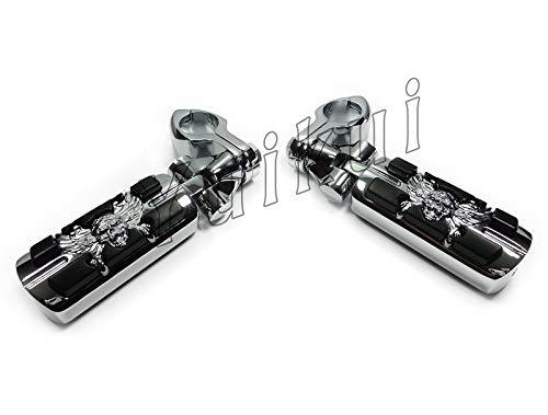 YUIKUI RACING オートバイ汎用 1-1/4インチ/32mmエンジンガードのパイプ径に対応 スカル髑髏男性マウント ハイウェイフットペグ タンデムペグ ステップ YAMAHA ROYAL STAR 1300 (VENTURE/BOULEVARD/TOURER DELUXE) All years適用   B07PRLC41Q