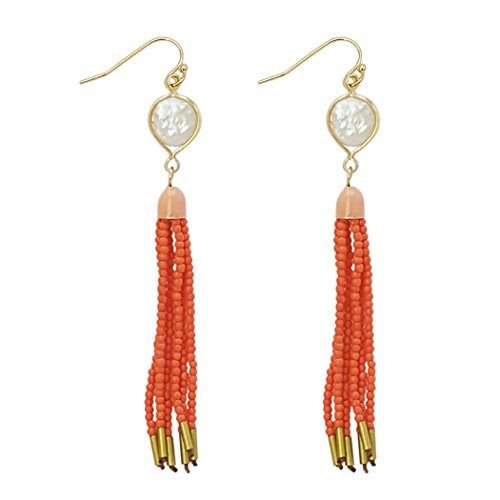 Seed Pearl (Rosemarie Collections Women's Mother of Pearl Seed Bead Tassel Dangle Earrings (Coral Color))