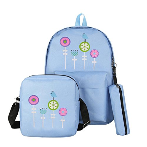 VIASA 3Pcs Women Candy Colors Floral Print Preppy Fashion Leisure Backpack Teenagers Student Backpack (Blue) by VIASA_bag