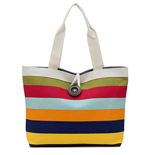 Rakkiss Ladies Colorful Striped Shopping Handbag Shoulder Canvas Bag Tote Purse (C)
