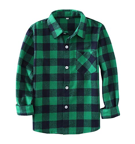 Little Girls' Boys' Long Sleeve Button Down Plaid Flannel Shirt(3 Years,Green) (Christmas For Boys Outfits)