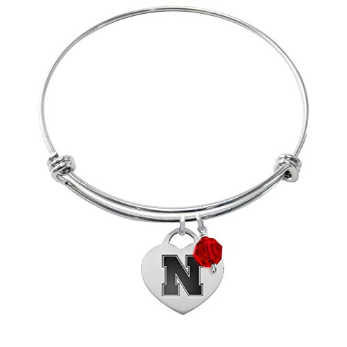 Nebraska Huskers Stainless Steel Adjustable Bangle Bracelet with Heart Charm & Crystal Accent Nebraska Huskers Stainless Steel