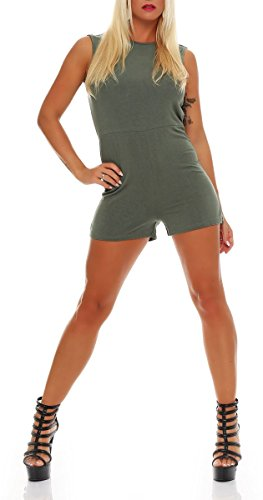malito corto Jumpsuit Body Catsuit Playsuit Casual 8967 Mujer Talla Única oliva