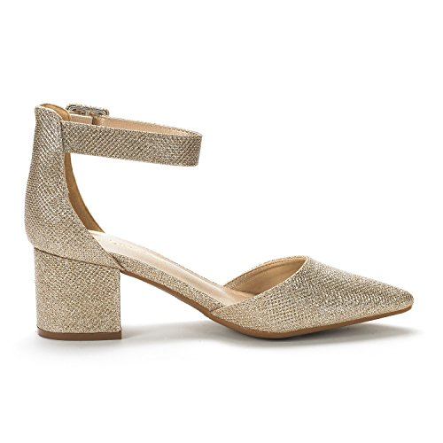 Gold DREAM PAIRS Women's Glitter Pumps Heel Low XxXZwdrq5