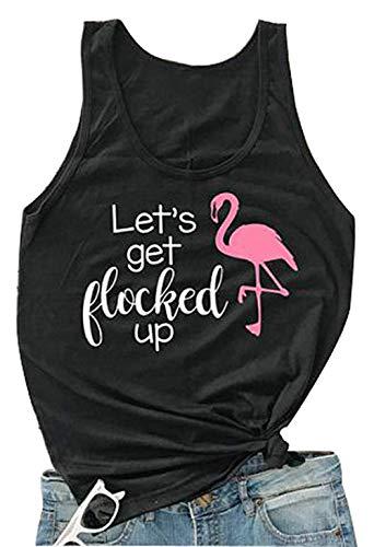 Women's Animal Flamingo Bird Graphic Tank Tops Sleeveless Vest T-Shirt (Black,X-Large) -
