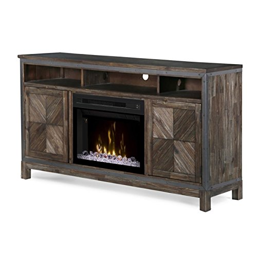 (DIMPLEX Electric Fireplace, TV Stand, Media Console, Space Heater and Entertainment Center with Glass Ember Bed Set in Barley Brown Finish - Wyatt #GDS25GD-1589BY)