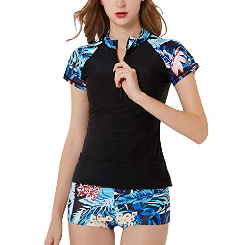 SWSMCLT Women's Two Piece Tankini Floral Print Zipper Front Rash Guard Boyshort Swimsuit Black US 12/14 (Tag 4XL) ()
