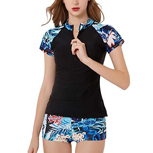 SWSMCLT Women's Two Piece Tankini Floral Print Zipper Front Rash Guard Boyshort Swimsuit Black US S (Tag M)
