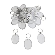 KurtzyTM 50 Round Oval Shaped Clear Blank Photo Picture Keyrings Key Chains Inserts Personalise
