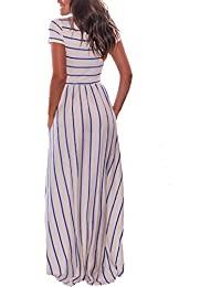 Women's Summer Casual Loose Striped Long Dress Short...