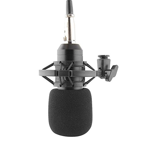 Megadream 3.5mm Condenser Sound Recording Studio Microphone with Shock Mount, Noise Cancelling Ideal for Radio Broadcasting Studio, Speech, Voice-Over Sound Studio, Recording and so on (Black) (Microphone Condensed compare prices)