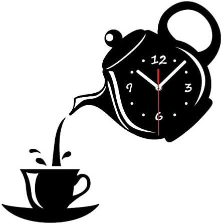 Txws Reveil Tasse De Cafe Theiere 3d Horloge Murale Horloge De