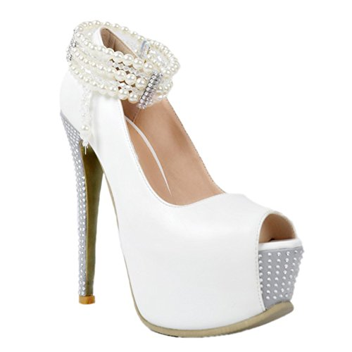Kolnoo Womens Fashion Gratetaor Peal Open Peep Toe Platform Wedding Evening Pumps Dress Shoes White