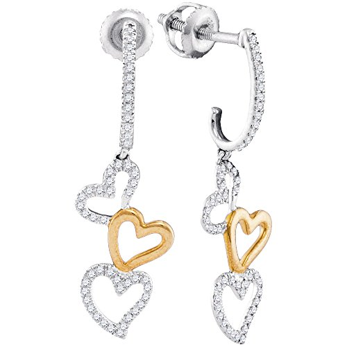 Two Tone Dangling Heart (Roy Rose Jewelry 10K Two-tone White Gold Ladies Diamond Dangling Triple Heart Earrings 1/4 Carat tw)