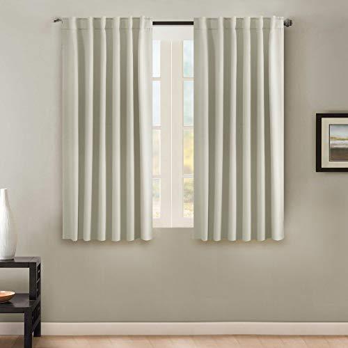 H.VERSAILTEX Premium Blackout 63-inch Curtain Panels Pair - Back Tab/Rod Pocket Window Drapes for Bedroom/Living Room (Solid Cream)