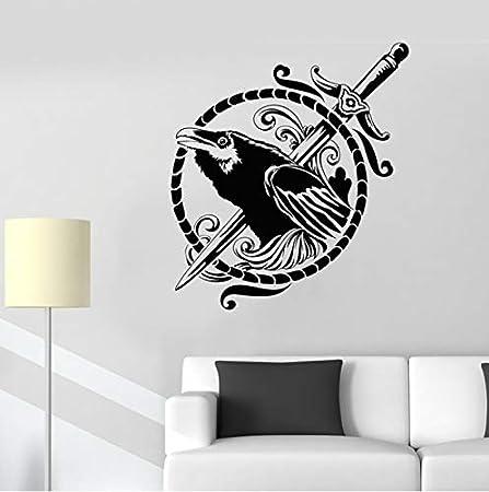 HLZLA Cuervo Negro símbolo Espada Estilo gótico pájaro Vinilo ...