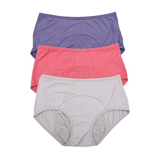 Natracare Organic Maternity Pads (Bamboo Viscose Fiber Brief Menstrual Leakproof Panties 3 Pack US Size L/7, Elegance red,Blue,Gray)