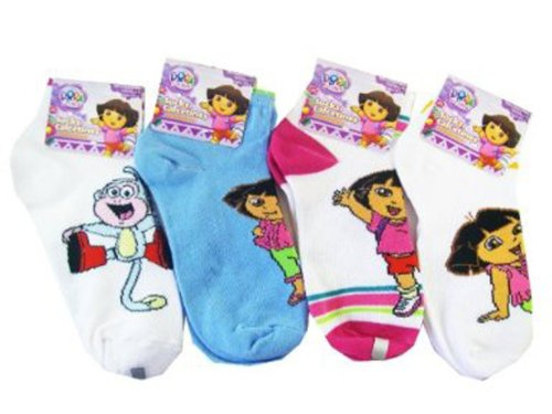 Dora the Explorer 3pc Girls Ankle Socks (Shoe Size 10.5 - 4) - Dora Socks (3 Pairs)