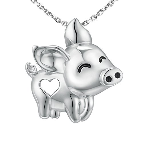 MANBU 925 Sterling Silver Charm Heart Cute Animal Pig Pendant Necklace Gifts for Girls by MANBU