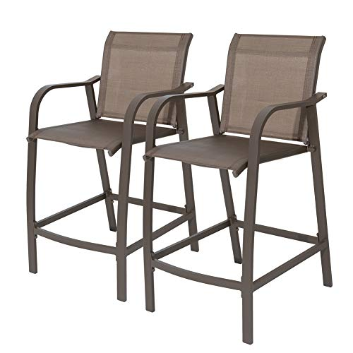 Crestlive Products Counter Height Bar Stools All Weather Patio Furniture with Heavy Duty Aluminum Frame in Antique Brown Finish for Outdoor Indoor, 2 PCS Set (Brown & Black)