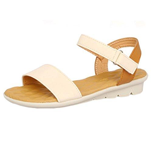 Scothen Sandalias de tacón Casual tarde Peep Toe mujeres de las sandalias planas de la hebilla de las sandalias romanas sandalias planas del Rhinestone correa del clip zapatos deslizadores de Bohemia Beige