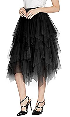 Urban CoCo Women's Sheer Tutu Skirt Tulle Mesh Layered Midi Skirt