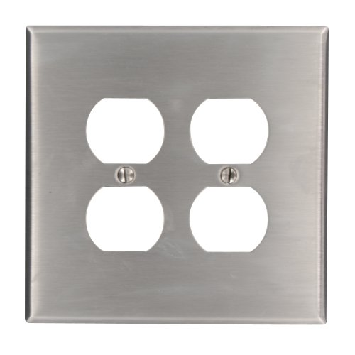 Leviton 84116 2-Gang Duplex Device Receptacle Wallplate, Oversized, Device Mount, Stainless Steel