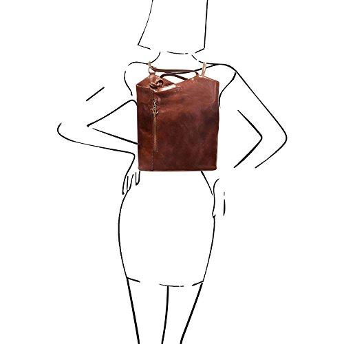 Tuscany Leather Patty - Bolso de señora en piel convertible en mochila - TL141497 (Marrón) Rojo
