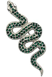 Sterling Silver Snake Pin w/Green Crystal Stones