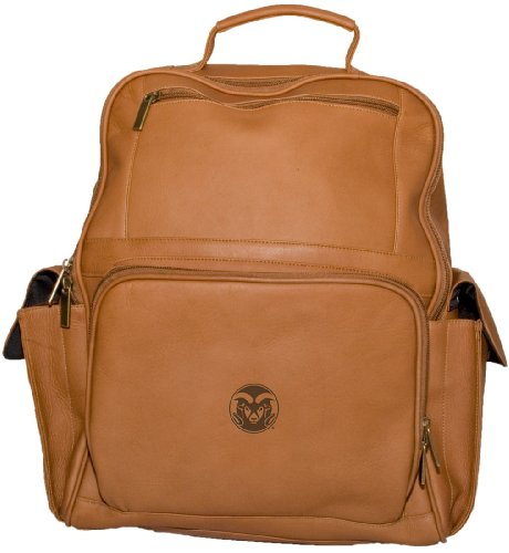 NCAA Colorado State Rams Tan Leather Large Computer Backpack by Pangea Brands