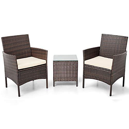 SUNCROWN Outdoor Bistro Set 3 Piece Brown Wicker Chairs with Glass Top Table All-Weather Wicker Patio Furniture with Thick Cushions | Garden, Backyard, Porch or ()