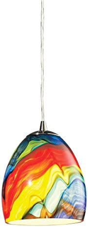 ELK Lighting 31445 1RB Color Wave Collection 1 Light Pendant, 7 x 6 x 6 , Satin Nickel