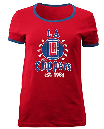 5th & Ocean NBA Los Angeles Clippers Adult Women Ladies Baby Jersey Short sleeve Ringer Tee,M,Red