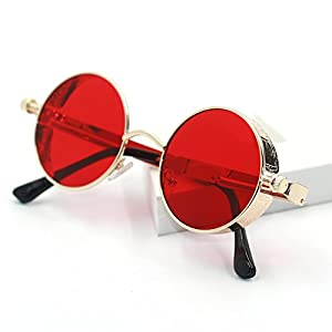 ProudDemon Retro Gothic Steampunk Sunglasses for Women Men Round Lens Metal Frame Gold Red