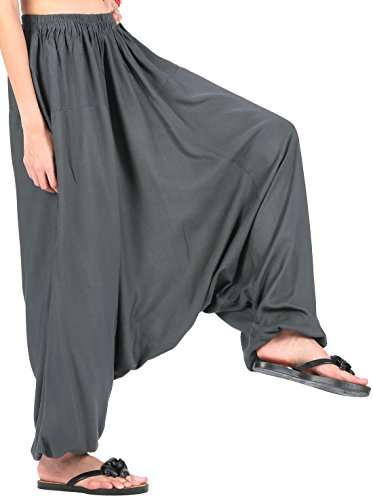 (CandyHusky Men Women Elastic Baggy Hippie Boho Gypsy Aladdin Yoga Harem Pants (Dark Grey))