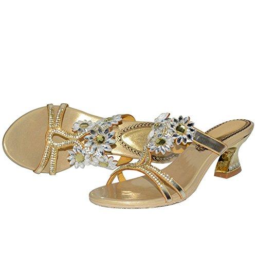Azul mano Mujeres SYYAN Oro Hecho Sandalias Flop Flip gold Vestido Punta Flores Rhinestone abierta a Bling Cuero Rpn8Fqp6